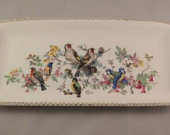 China Serving Tray with Colourful Birds and Flowers