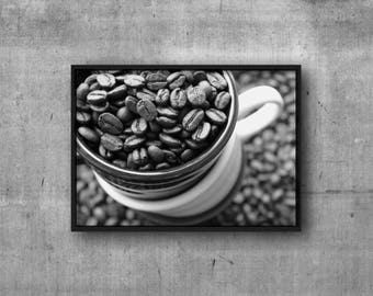 Coffee Print - DIGITAL DOWNLOAD - Coffee Beans Printable Art - Black and White Coffee Photography - Coffee Wall Art - Kitchen Print
