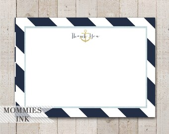 Gold Anchor Flat Thank You Note, Anchor Thank You Card, Flat Note, Navy and White Thank You Card, Nautical Theme, Anchor Baby Shower