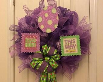 Easter Door Hanging, Easter Egg Hunt, Easter Mesh Wreath, Easter Wreath, Easter Wall Decor, Purple Easter Wreath, Spring Wreath, Easter Wall