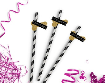 Bachelorette Party Straws - Funny Party Straws - Paper Party Straws - Chevron Party Straws - Penis Straws