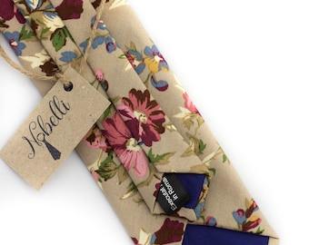 Mens floral tie, Skinny floral tie, Floral necktie, Wedding ties, Beige tie, Floral ties for men, Mens ties, Mens floral necktie, skinny tie