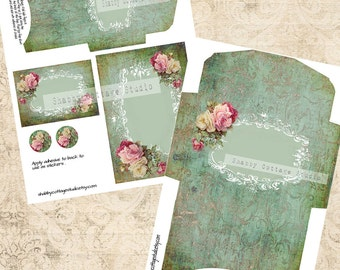 Damask and Roses Instant Download Digital Printable Envelopes and Cards Set  Victorian Shabby Chic Cottage Romantic