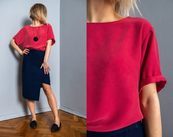 Vintage silk top | casual top | summer top | minimalist top | red blouse | oversized top | S size | M size | roll up sleeves | dusty