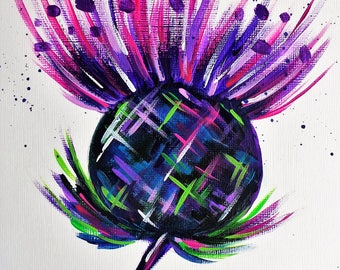 Scottish Thistle | original painting | Scottish Abstract Art | Scottish art | Scottish painting | wall art | Contemporary Scottish Painting