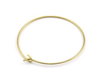 Brass Earring Wires, 25 Raw Brass Earring Studs, Wire Hoops (35x0.8mm) E183