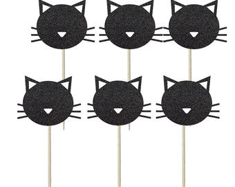 Cat shaped Cupcake Toppers, Cake Topper, Cake Decoration, kitty cat, cute cat, cat decorations,. cat party, meow, kitty