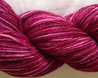 Hand dyed sparkle sock yarn 100g merino / nylon / stellina in Rich Plum colourway