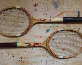 Soviet Tennis Rackets, Set of 2 Vintage Duell Wooden Tennis Racquets Made in USSR.