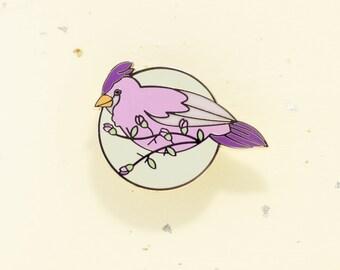 Female Cardinal Pin (bird enamel pin feathers nature wing pink natural garden bunting purple flower branch seasons lapel winged spring)