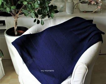 BABY BLANKET knit MERINO marine blue