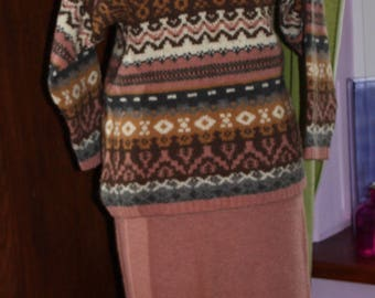 Vintage 1990's suit,sweater roll neck with maxi skirt