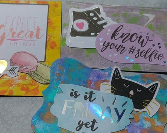 Set of 3 Altered Tags - Bright & Sassy