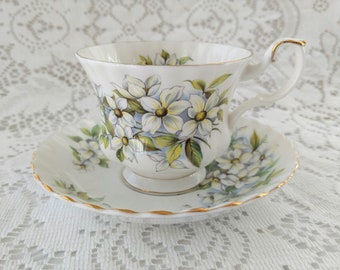 Vintage Royal Albert Teacup and Saucer, Pacific Dogwood, 1980's,  English Bone China, Made in England, Montrose Shape