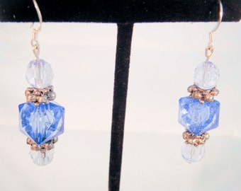 Upcycled Vintage Blue Beaded Earring Sterling Silver findings