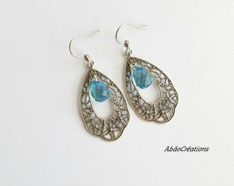 Earrings drop shape Baroque with Crystal faceted blue pear shape