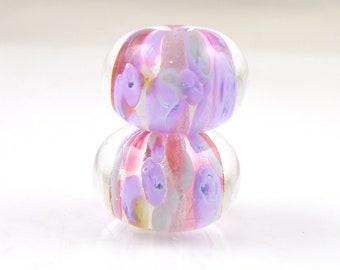 Chapel Window Earring Pair Encased SRA Lampwork Handmade Artisan Glass Donut/Round Beads Made to Order Pair of 2 10x15mm