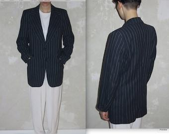 NEEDLE striped WOOL navy blue blazer JPG style vtg sz S