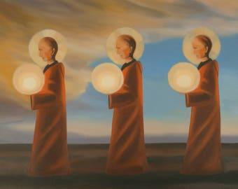 Light carriers, 1997, oil on canvas, framed 200x100 cm