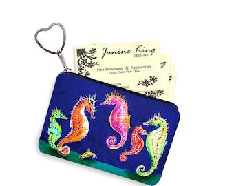Clara Nilles Seahorse Business Card Holder Fabric Pouch Key Fob Small Zipper Bag Coin Purse Key Chain blue pink orange green sea horses RTS