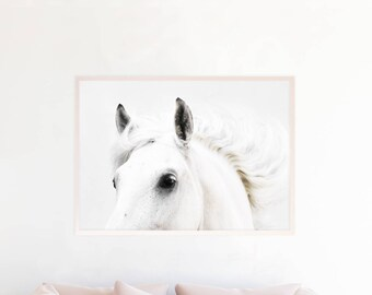 Horse Wall Art Print, Black and White Horse Photography Poster, Horse Printable Instant Download, White Horse Art Rustic Home Decor, hc1c2c1