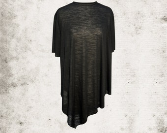 Dark Charcoal, Asymmetric Hem, Slub Jersey T.Shirt with Raw Edges