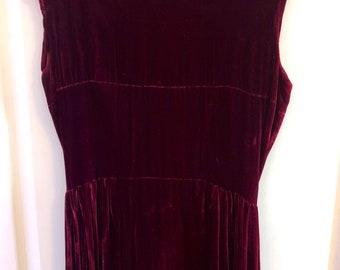 Vintage 90s dark red velvet dress