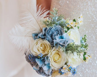 Feather bouquet, blue bridal bouquet, blue keepsake bouquet, blue boho flowers, rustic wedding, boho wedding, brooch bouquet, rustic flowers