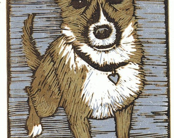 Sam the dog block print