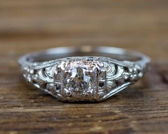 Vintage 1920's Art Deco Engagement Ring 18K White Gold .34 ct Diamond Ring