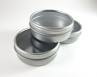 Round Tin Cans with Window Lid | 3 Steel Favor Tin Boxes for Wedding Favors, Party Favors, Candy, Jewelry