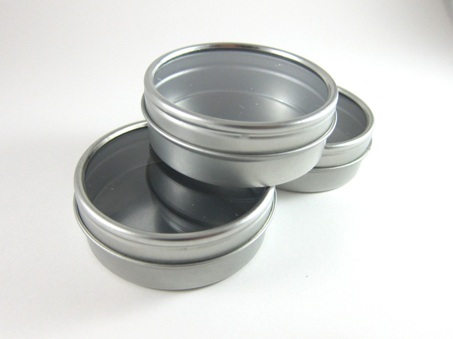 SALE Round Tin Cans with Window Lid 3 Steel Favor Tin