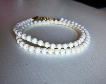 Handmade Crochet Wrap Bracelet - White on White