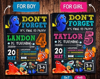 Finding Dory Invitation, Finding Dory Invite, Finding Dory Birthday, Finding Dory Party, Finding Dory Printable, Finding Dory Card
