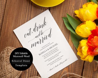 Rehearsal Dinner Invitation Instant Download, Rehearsal Dinner Invitation Template, Printable Rehearsal Dinner Invitations, MSW54