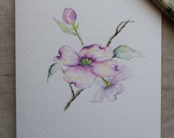 Pink Dogwood Watercolor Painted Card- Prints only