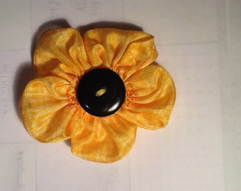 Hand-sewn Yellow Flower Barrette