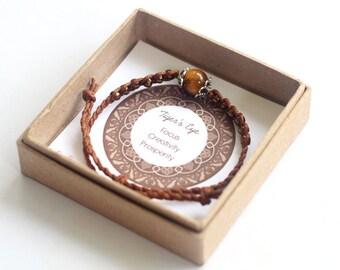 Tiger's Eye Bracelet- Brown Waxed Cotton Cord Bracelet, Tiger's Eye Stone, Yoga Bracelet, Bohemian Bracelet, Good Vibe Bracelet