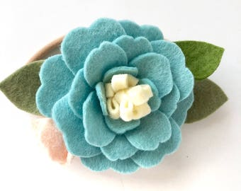 Girl's Felt Flower Hair Accessory - Aqua Blue - Felt flower Hair Clip - Robbin's Egg Blue
