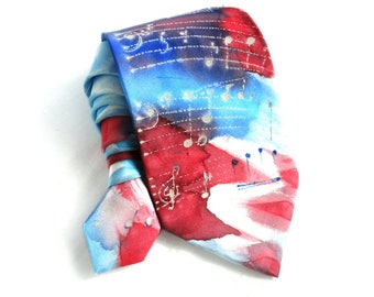 Musical Notes Tie. Gift for Him. Hand Painted Silk Tie. Red Blue Man Tie. OOAK Silk Tie. Silk Neck Tie. Music Lovers Gift. MADE to ORDER