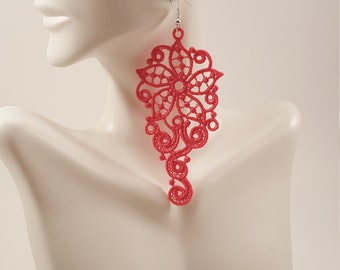 Hot pink lace earrings Pink embroidered earrings Statement earrings Lace jewelry  Drop earrings Dangle earrings Pink lace jewelry