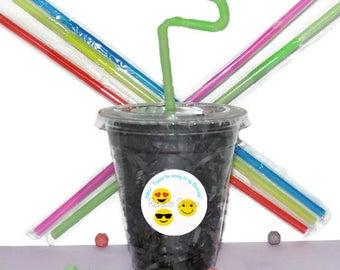 Emoji Party Cups, Emoji Cups, Kids Birthday Party Cups, 20 Cups, Emoji Kids Party Cups, Straws and Lids, 12 Ounce Cups