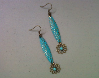 Aqua Flower Earrings (1366)