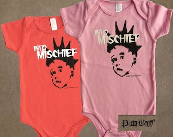 Into Mischief hand screen printed, red or pink, cotton infant onesie for Misfits & punk fans