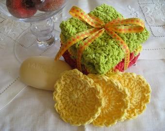 Washcloths & Scrubbies for Bath or Spa, Crochet Pattern PDF 12-006 INSTANT DOWNLOAD