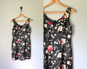 Vintage MARLOW Dress • 1990s Clothing • Black Floral Print Satin Mini Sleeveless • 90s Bodycon Sheath Made in USA • Women size Small Medium