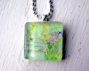 Monets Garden Watercolor Necklace - Giverny France Watercolor Glass Tile Necklace - Original Painting Pendant