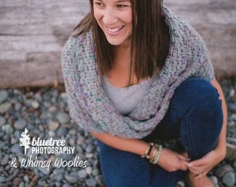 "Crochet Shawl Pattern: ""Twisted Infinity Shawl"" Basket Weave"