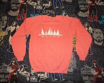 Vintage MAINE Salmon Pink - vtg Poly Cotton Silky Soft Sweatshirt - sz L - 1980s sailboat yacht