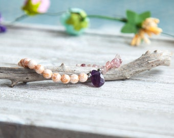 Amethyst Bracelet, Strawberry Quartz Bracelet, Pink Gemstone Crystal Bracelet, Bohemian Quartz Bracelet, Boho Luxe Bracelet